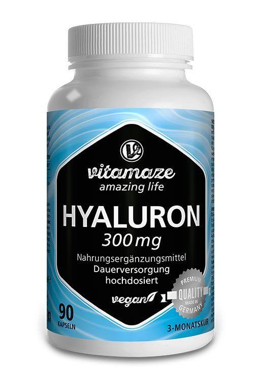 Hyaluronsäure 300 mg hochdosiert, 90 Kapseln, deutsches Qualitätsprodukt, VEGAN