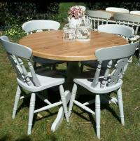 Solid pine shabby chic farmhouse round kitchen dining