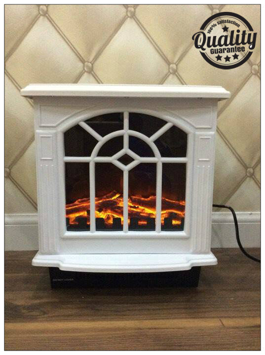 2kw White Electric Fireplace Heater Portable Wood Burning