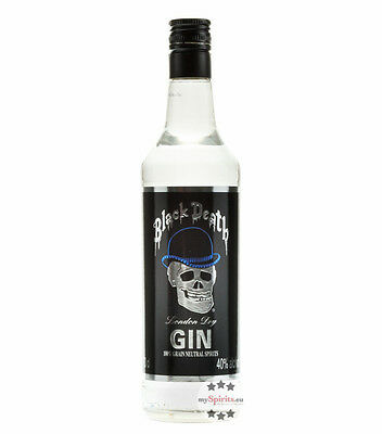 Black Death London Dry Gin - Kult-Gin / 40% vol. / 0,7 Liter-Flasche