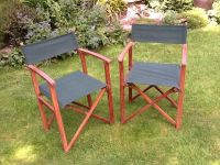 2 Delux wooden framed folding garden Director chairs green ...