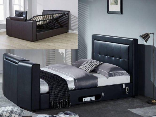 Double Tv Bed Gaslift Storage Black Beds Mattresses And Mattress Deals