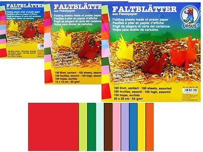 100 Faltblätter intensiv quadratisch 10, 15,20cm Bastelpapier Faltpapier Origami