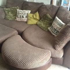 Dfs Brown Half Leather Corner Sofa Poundex Bobkona Leo Reversible Sectional Embrace And Footstools | In Barnstaple ...