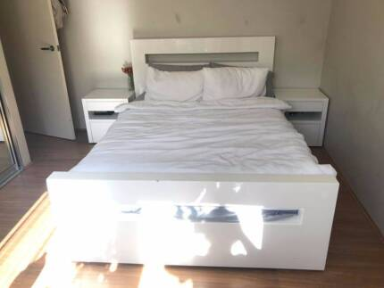 Doubled Bed Frame With Bedside Tables Double Mattress