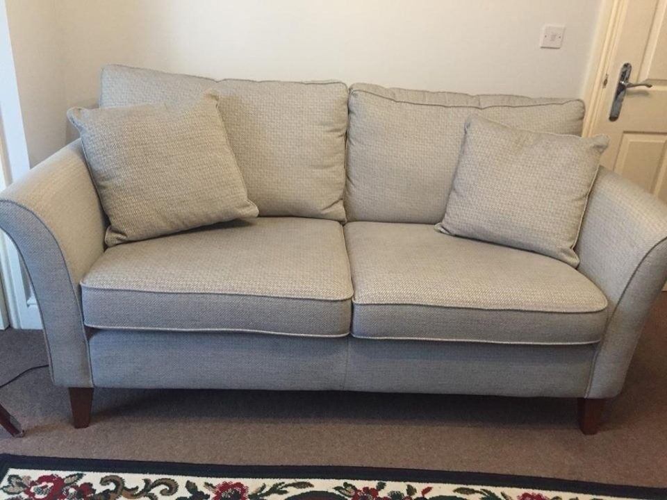 grey fabric sofa next corner leather gumtree excellent condition large brompton matching cushions from in light