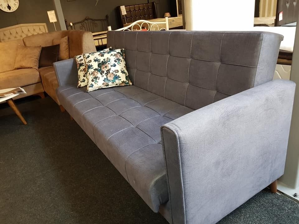 stain proof sofa fabric black faux leather set brand new bed 3 seater in derby