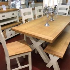 Oak Kitchen Table Outdoor Kitchens Sydney Painted Dining 6 Chairs Bench In Newry County Down Gumtree
