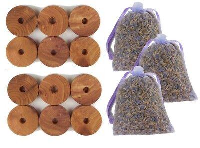 SET 12x MOTTENSCHUTZ Ringe ZEDERNHOLZ +3 Duftsäckchen Lavendel Lavendelsäckchen