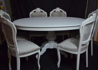 SHABBY CHIC FRENCH LOUIS STYLE OVAL DINING TABLE& 6 LOUIS ...
