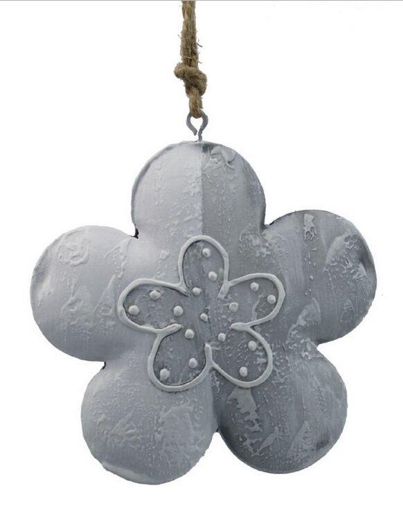 Deko-Hänger Blüte Metall grau weiß 10 cm neu Deko Landhaus