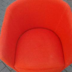 Orange Bucket Chair Slipcover For Recliner Retro With Brushed Silver Feet Fabric Materia Only A Year Old