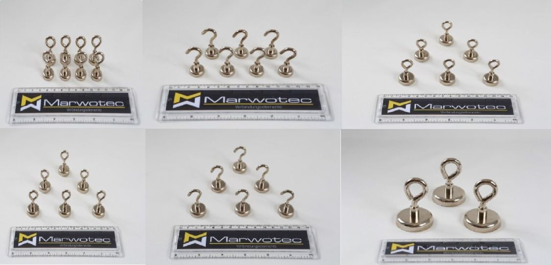Starke Magnethaken und Magnetösen Hakenmagnete Ösenmagnete 6KG - 80KG Haftkraft