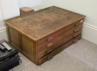 Antique 4 drawer coffee table / map drawer / filing chest ...