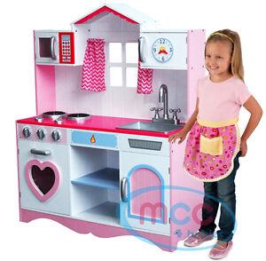childrens kitchens kitchen sink drain plumbing wooden pretend play toy ebay mcc large girls kids pink children s set