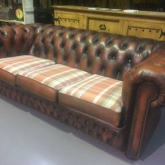 Tartan Chesterfield Sofa Small Size Beds Stunning 3 Seater In Tan Leather Uk Delivery