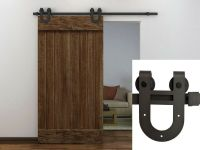 6FT Dark Coffee Antique Horseshoe Barn Wood Sliding Door ...