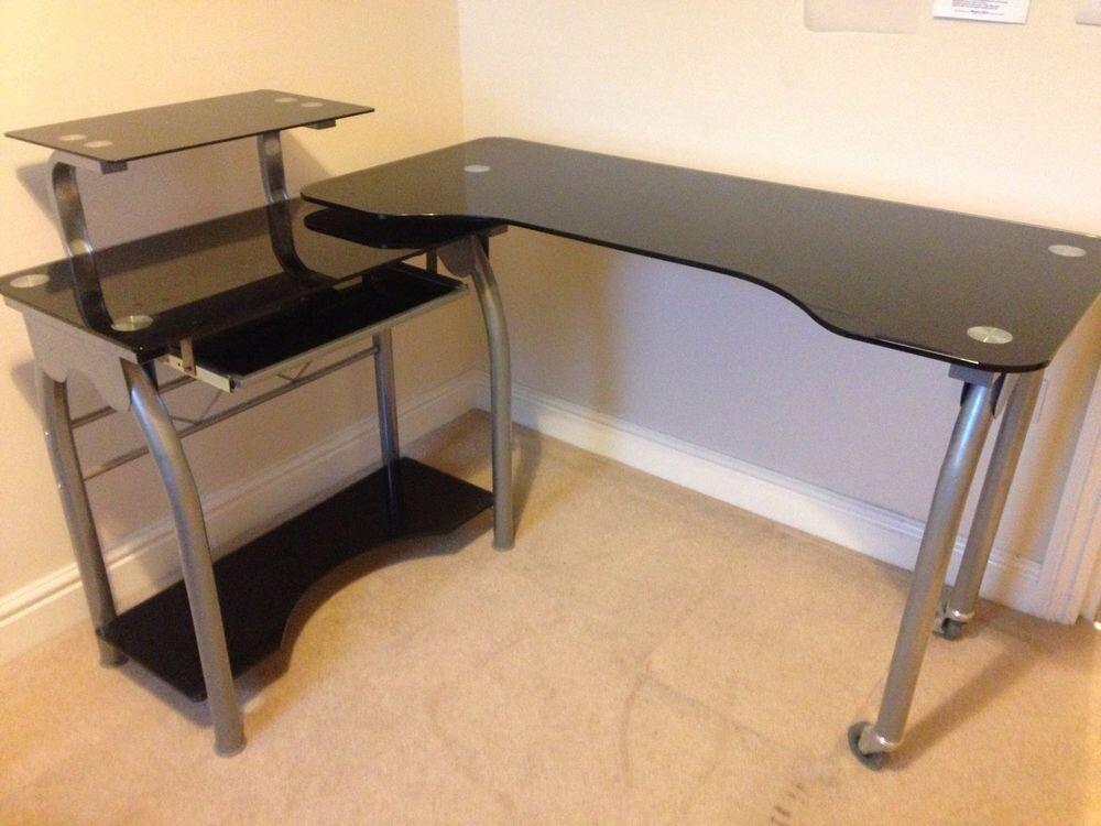 Black and Silver Glass Swivel Corner Desk from Homebase