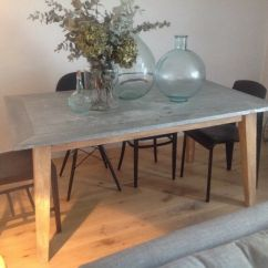 Zinc Kitchen Table Farmer Sink 6 Seater Top Dining With Acacia Wood Legs In Islington