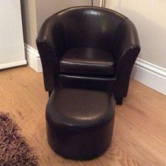Brown Leather Tub Chair With Footstool Barcelona And Ottoman Kids Faux Stool From Dunelm In