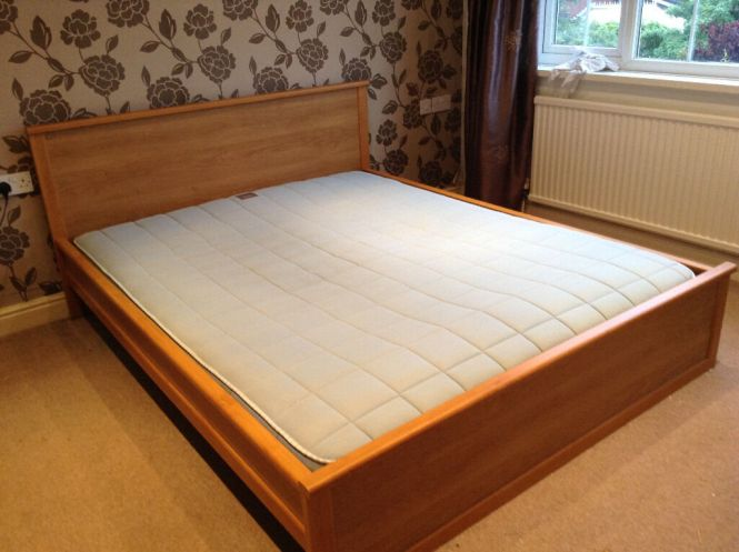 Ikea King Size Bed With Sultan Norrsken Mattress Good Condition Very Comfortable