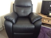 Harvey's Maple, black leather electric recliner chair | in ...