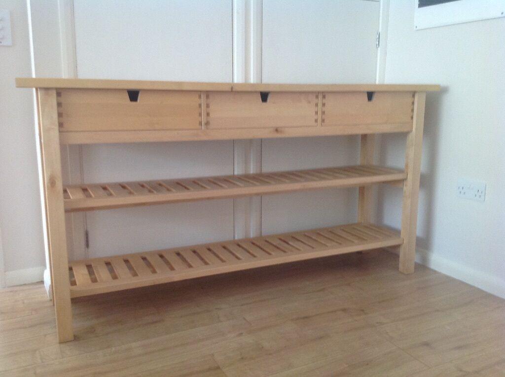 IKEA kitchen island worktop 2 shelves 3 drawers sideboard