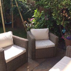 Rattan Effect Garden Corner Sofa Set Microfiber Cover Garnet Natural Brand New B & Q Soron And Two Chairs ...