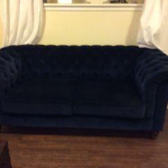 Blue Velvet Chesterfield Sofa Stretch Plush Cream Slipcover Gorgeous Navy Debenhams In Ayr