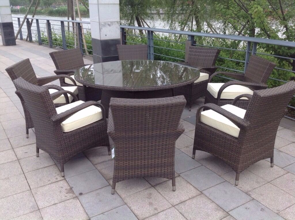 Paradise 8 Seater Round Brown Rattan Garden Furniture