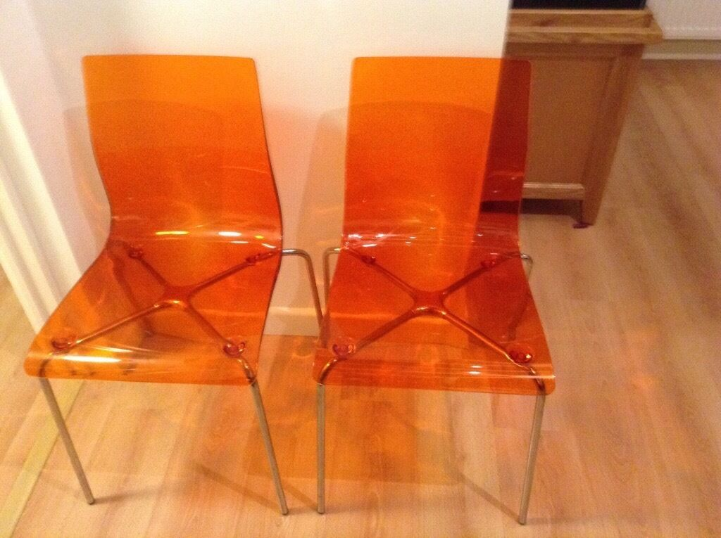 John Lewis Orange Gel Acrylic Chairs X 2 In Norwich