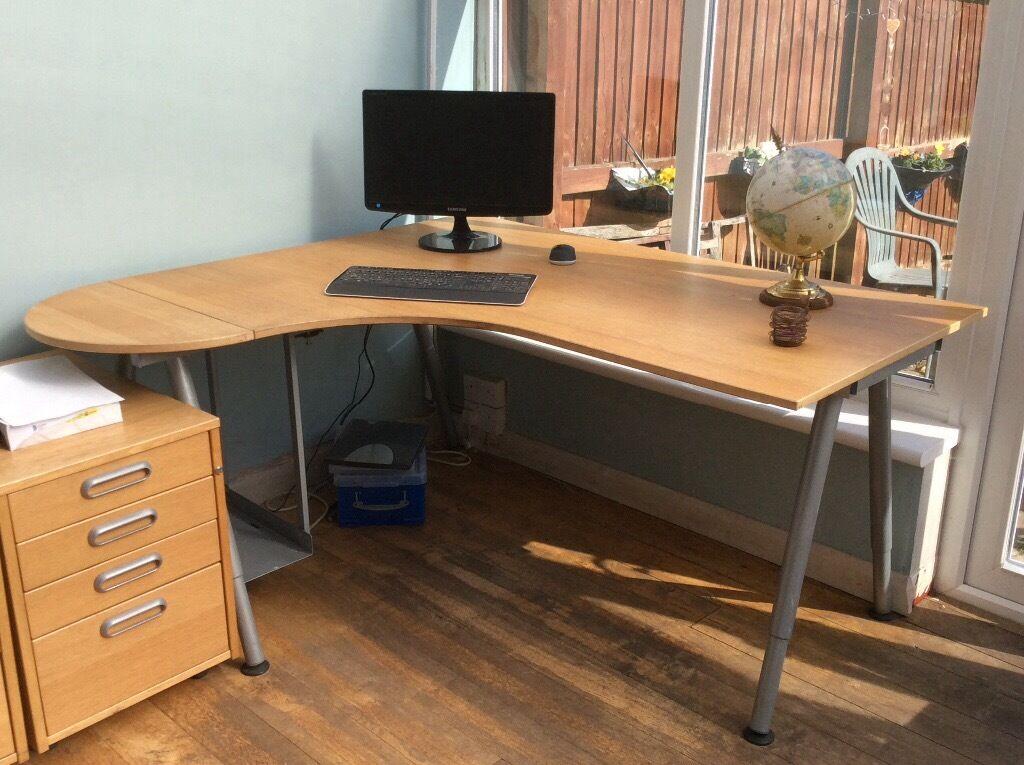 Light wood corner office desk  in Rumney Cardiff  Gumtree