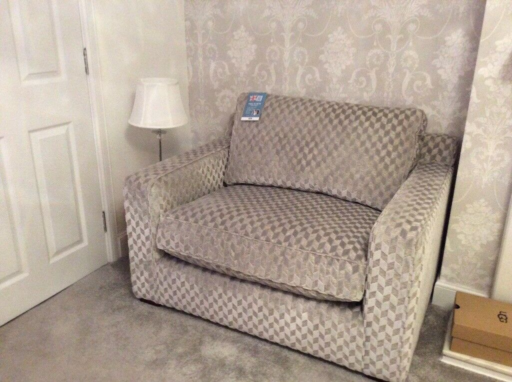 one and half seater sofa fabric recliner sets india cuddle chair seat small couch in chryston glasgow