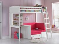 Girls High Sleeper Cabin Bed with Desk and Pull Out Sofa ...