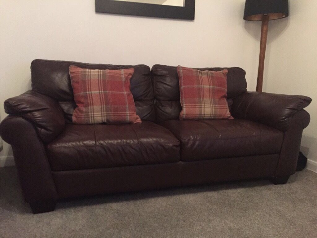 leather sofa brown dfs charles of london x 2 matching in syston