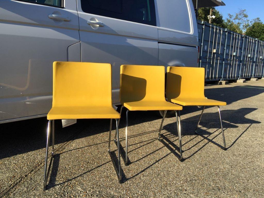 mustard yellow bean bag chair folding rental columbus ohio 3 ikea bernhard chairs dark chrome plated frame