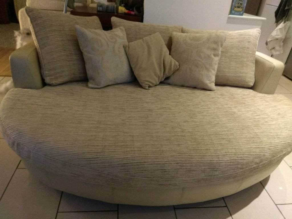 oval sofa crimson gorgeous large dfs cream leather fabric snuggle cuddle love 3 4 seater couch