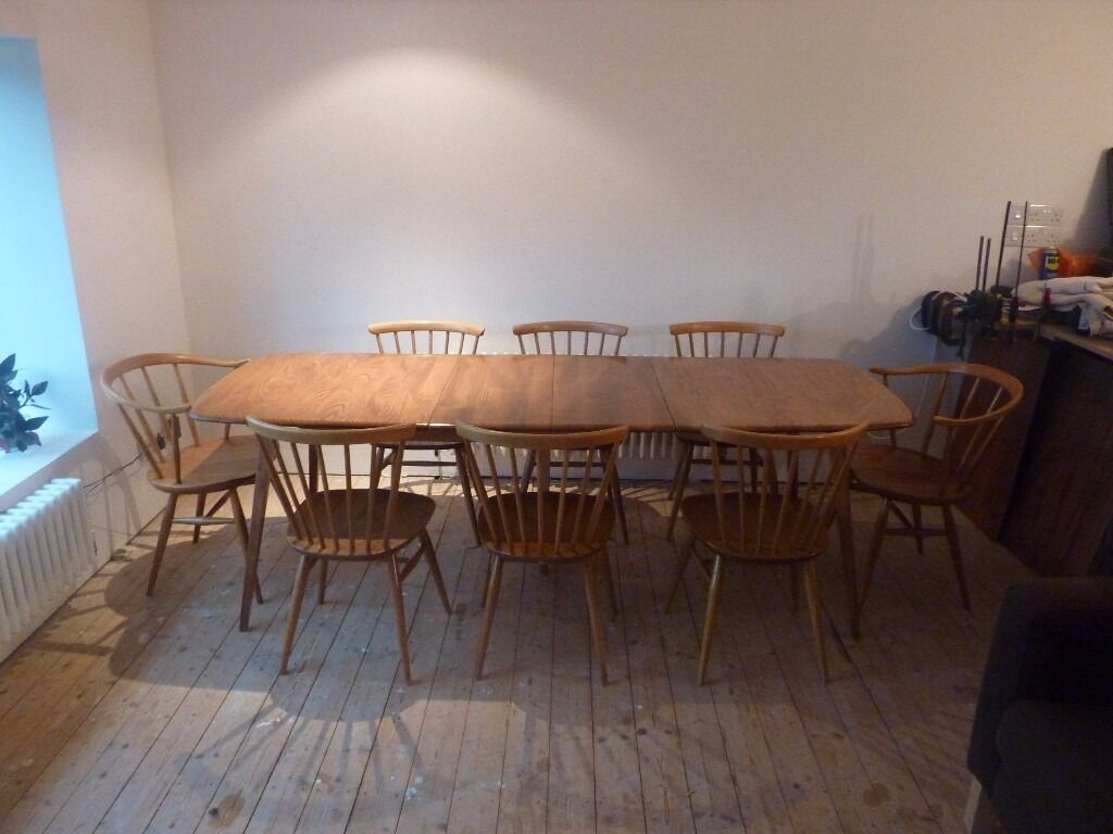 ercol windsor dining table and chairs pub set grand extending 6 bow top 43 2 cowhorn