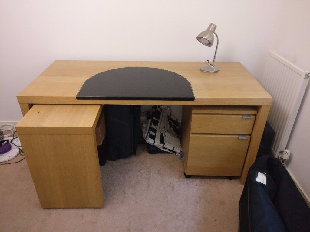 Ikea Malm Desk with pull out table Filing Cabinet and