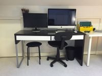 IKEA MICKE Black/Brown & White Long Desk Table with ...