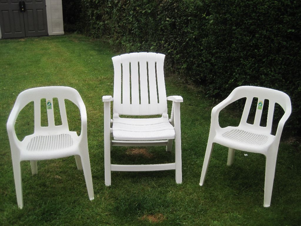 plastic deck chairs best wing back lot of 3 garden patio 2 white standard hard