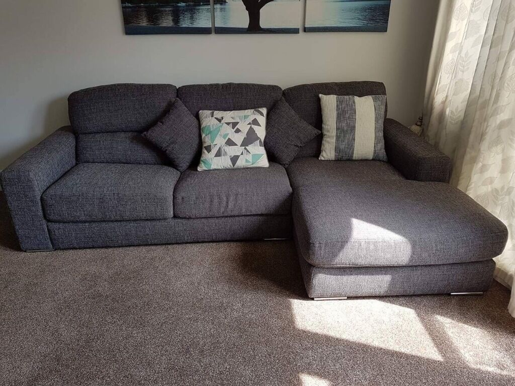 large dark grey corner sofa 5 seat pisa 3 seater with chaise in