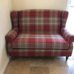 Tartan Chesterfield Sofa 4 Seater Fabric Recliner Re Upholstered In Plaid And
