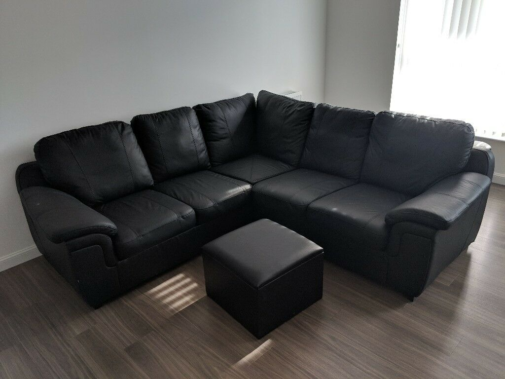 Black Leather Corner Sofa and Storage Footstool  in