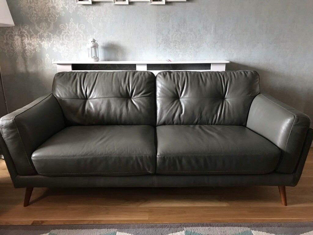 leather sofas dfs sofa slipcover singapore axel from for sale 11 months old pristine condition grey