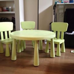 Ikea Toddler Chair Canada Dining Room Covers Mammut Light Green Kids Table With 3 Chairs In