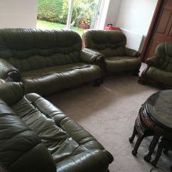Dark Green Leather Sofa Flexsteel Rv Beds 5 Piece Set Suite With Wooden Frame In