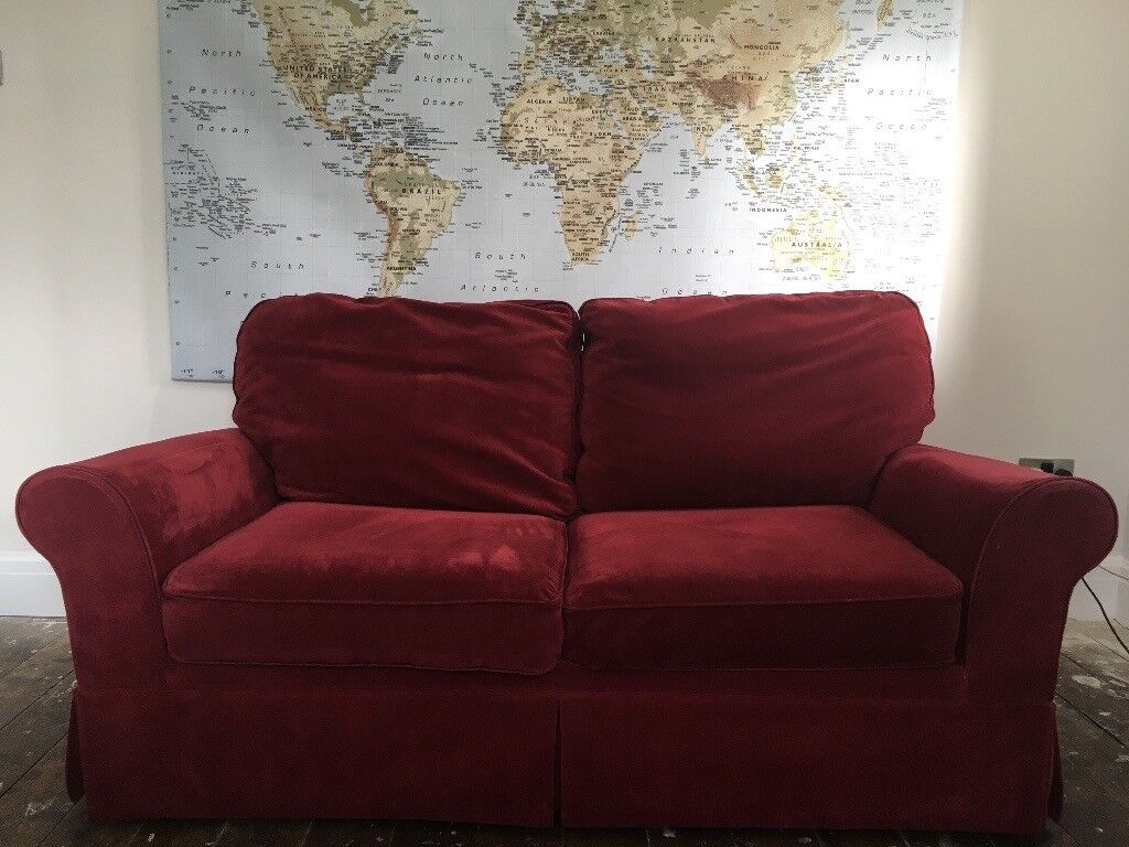 length of 2 seater sofa john chamberlain next velour dark red bed 178cm height 82 cm collection only