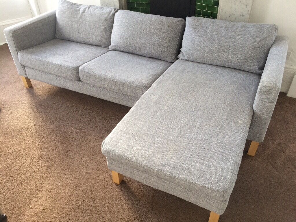 grey sofa chaise lounge reupholstering a sectional ikea karlstad isunda and in