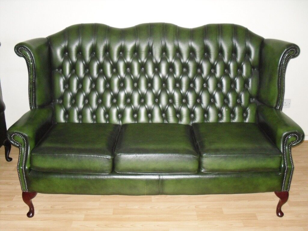 high back chesterfield sofa surefit pearson stretch cover wing 2 piece suite green seater
